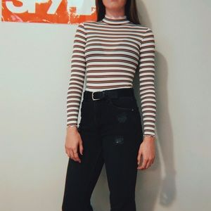 NWT MISGUIDED STRIPED HIGH NECK BODYSUIT